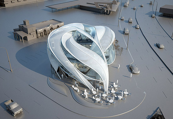 awesome Futuristic sci-fi Building in Los Angeles