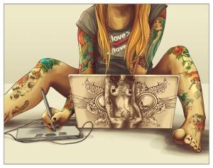 geek tattoo girl