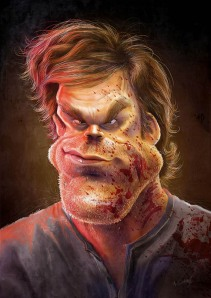 anthony geoffroy Caricature Michael C. Hall in Dexter