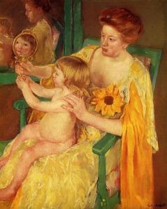 Impressionism painting Mary Cassatt the mirror