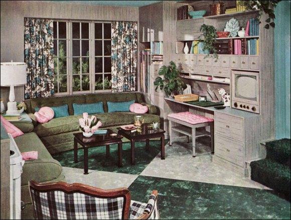 vintage interior design and decoration 50s