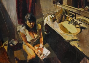 girl in the toilet painting