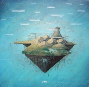 floating island surreal painting