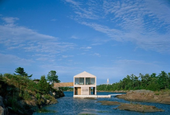 Floating House on Lake Huron in Ontario Canada