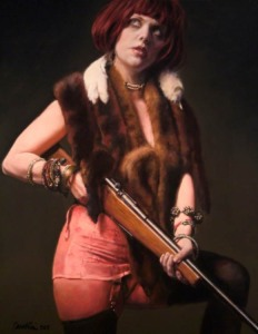 woman with shotgun