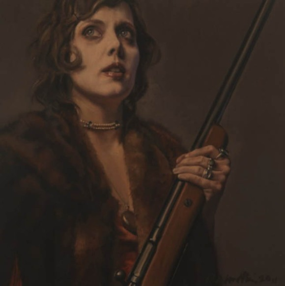 woman with shotgun painting